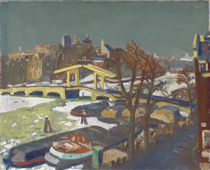 view at the magere brug in amsterdam by jan wiegers