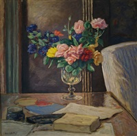 roses dans une verre, (roses in a wine glass) by albert andré