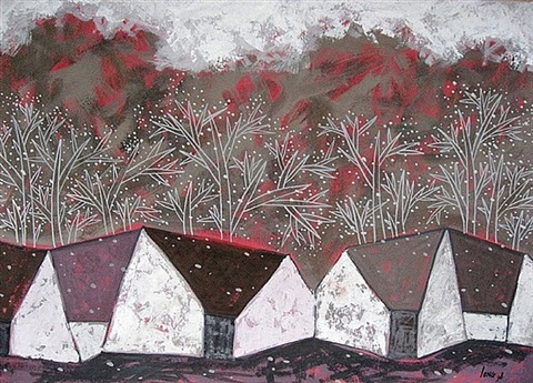 silver red trees by pham thang long