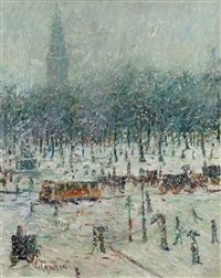 new york snow scene with madison square garden in the distance by ernest lawson