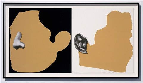 noses & ears etc.: the gemini series: two profiles, one with nose (b&w); one with ear (b&w) by john baldessari