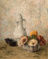 still life with porcelain and flowers by dines carlsen