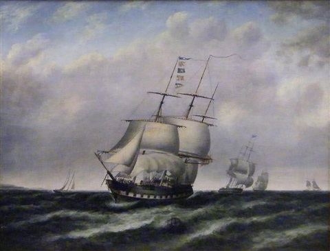 ships in rough coastal waters by thomas doughty