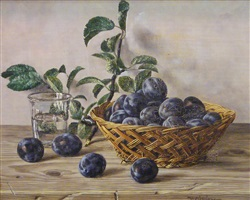 basket of plums by oswald eichinger