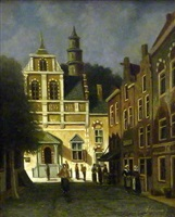 figures in a dutch town by adrianus eversen