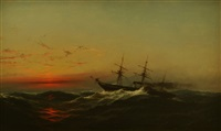 sunset on a rough sea, 1873 by james hamilton