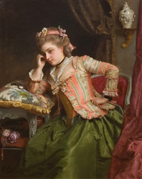 a pensive moment (sold) by gustave jean jacquet