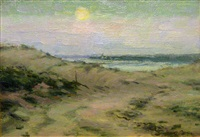 moon rise over the beach by henry rodman kenyon