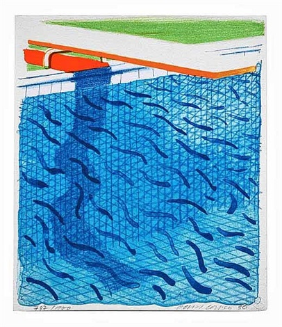 pool made with paper and blue ink for book (paper pools) by david hockney