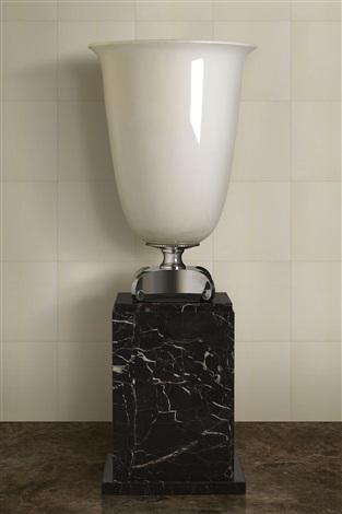monumental porcelain & silvered bronze lamp by émile jacques ruhlmann