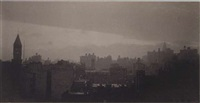 new york skyline, dusk by gertrude kasebier