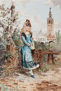 young spanish woman in cartuja park, seville by ramón alorda pérez