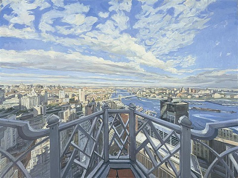 new york: looking to brooklyn bridge by john wonnacott