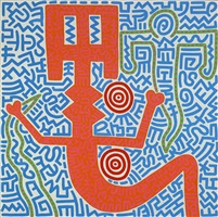 untitled (aztec snake goddess) by keith haring
