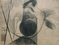 x on brown paper by arshile gorky