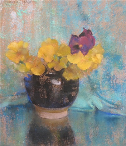 black jar of yellow pansies by laura coombs hills