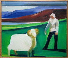 girl with sheep by louisa matthiasdottir