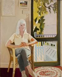 aline by the screen door by fairfield porter