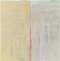 green, gold, and silver with red line by pat steir