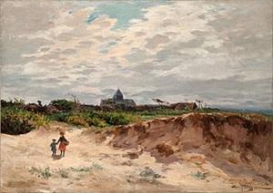 enfant dans les dunes pers du village by edmond marie petitjean