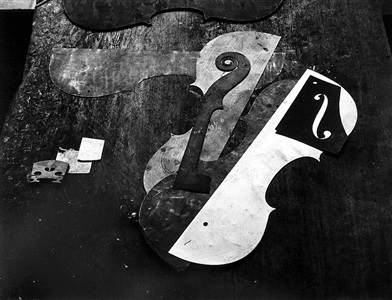 violin maker's patterns on workbench, philadelphia by arnold newman