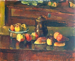 stillleben mit äpfeln / still life with apples by anton faistauer