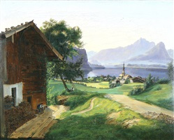 blick auf st. gilgen am wolfgangsee / view of st. gilgen at the wolfgangsee (salzburg) by carl geyling