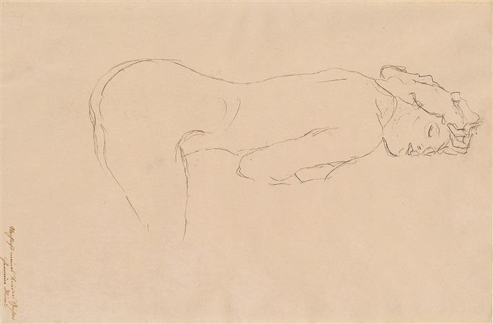 auf dem bauch aufgestützt liegender akt / reclining nude by gustav klimt