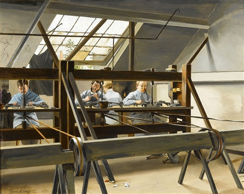 a diamond cutter's workshop by emile hendrik godding