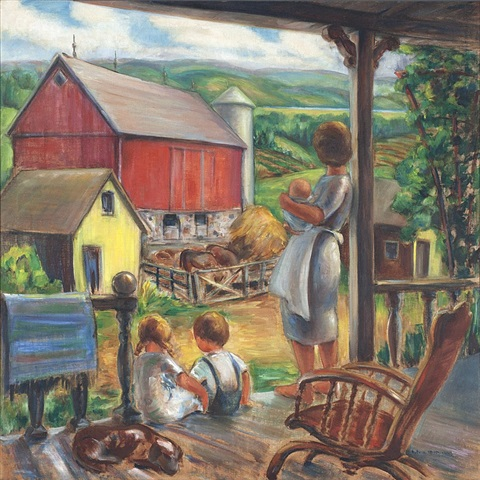 farm scene: farmer's wife w/ children - big cedar lake by sylvia m. spicuzza