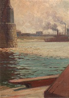 the river (levee beneath the eads bridge) by frederick oakes sylvester