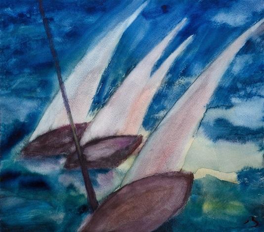 drei segelboote by herbert beck