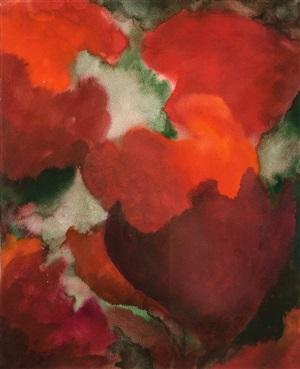 rote blütenkomposition by herbert beck
