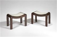paire de tabourets curules en acajou, modèle 'sn1' / pair of mahogany curule stools model 'sn1' by pierre chareau