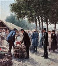 dutch market scene by henricus gerardus de korte