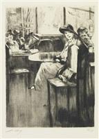 junges mädchen im kaffee mit strassenblick by lesser ury