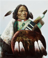 portrait of an indian with shield by troy denton