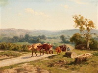 cows along a country road by clement (charles-henri) quinton