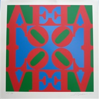 """love wall (red blue and green """"o"""" in center) by robert indiana"""