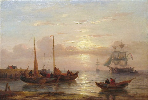 a calm seascape by george willem opdenhoff