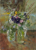 dark pansies with wild flowers by diana armfield