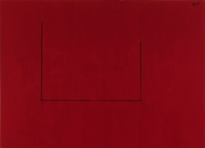 open no 29 in crimson with charcoal line by robert motherwell