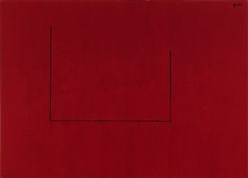 open no. 29: in crimson with charcoal line by robert motherwell