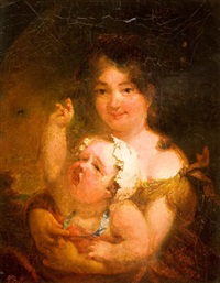 mother and child (the artist's wife and daughter) by george f. fuller