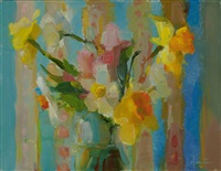 daffodils and blue tapestry by christine lafuente