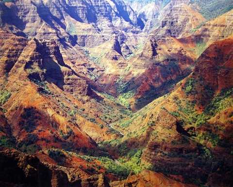 waimea canyon, sunlight & cloud shadows, hawaii by christopher burkett