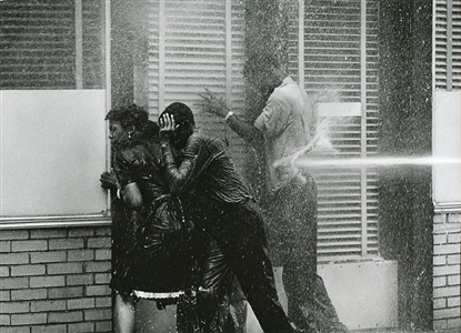 alabama fire department aims high pressure water hoses at civil rights demonstrators birmingham protests by charles moore