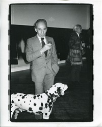 leo castelli and andy warhol at the dia foundation exhibition of shadow paintings by bob colacello