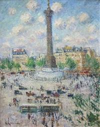 place de la bastille by gustave loiseau