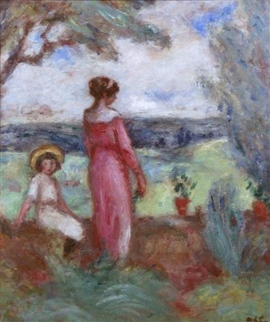 femme et enfant au jardin by georges d'espagnat